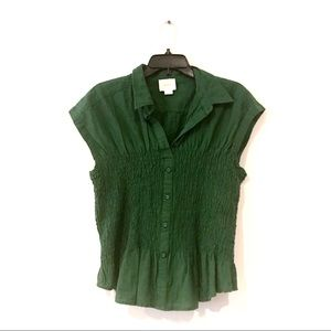 Maeve Hunter Green Button Up Shirt
